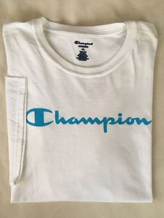 46da1ad9 CHAMPION Mens Script Logo Short Sleeve T-Shirt White Blue NWT Big & Tall