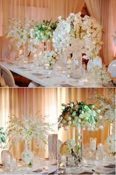 I like the arrangements and height if the flowers with the small votives and floating candles