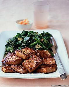 firm tofu takes on the flavor of its zesty marinade: soy sauce, sesame ...