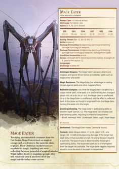 Mage Eater by Irish Bandit Dnd Dragons, Dungeons And Dragons 5e, Dungeons And Dragons Characters, Dungeons And Dragons Homebrew, Dnd Characters, Fantasy Monster, Monster Art, Mythical Creatures Art, Magical Creatures