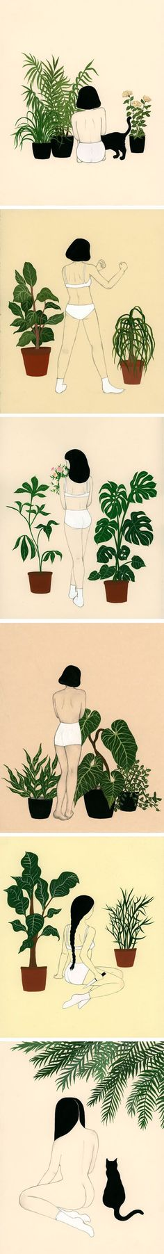 Dan-ah Kim& Illustrations are perfect! Plants, pants and cats - my favourites - funny :D Illustration Main, Illustrations And Posters, Art Inspo, Illustrators, Art Drawings, Cool Art, Art Photography, Artsy, Sketches