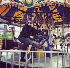 We hopped the fence!...anything for an early morning carousel ride with my boo. @KourtneyKardash and @KhloeKardashian
