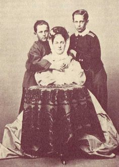 "Grand Duchess Maria Nikolaevna Romanova of Russia (the Elder) with her sons  Princes Sergei and Nicholas of Leuchtenberg. ""AL"""