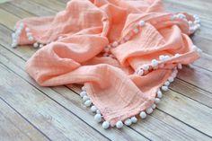 Toddler muslin blanket with Pom Pom trim / peach Coral / baby girl