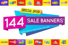 144 Awesome Sale Banners (+BF & CM) by Ckybe's Corner on @creativemarket