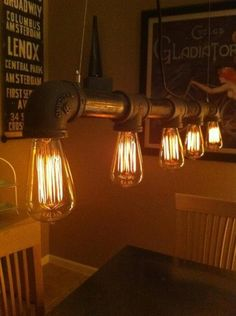 Not wood, but so very industrial and cool! DIY Industrial Vintage Look 5 light Edison Bulb Iron Pipe Chandelier Pipe Lighting, Lighting Design, Lighting Ideas, Edison Lighting, Garage Lighting, Track Lighting, Dining Lighting, Event Lighting, Lighting Store