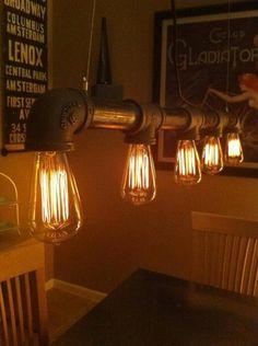 Industrial Pipe Chandelier | Playa Del Carmen Rustic Industrial Lamps & Furniture