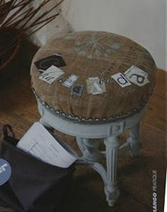 """Random square initials sewn on a burlap ottoman or.....spell a """"word"""" with purpose (blessed, remember, always, grateful, etc.)"""
