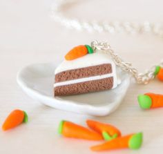 Carrot cake necklace with tiny carrot on top by Zoozim on Etsy, $13.00