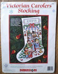 amazoncom victorian carolers counted cross stitch christmas stocking kit 8442 - Cross Stitch Christmas Stocking Kits
