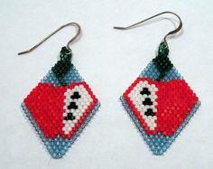 Apple Seed Bead Earrings Hooks Clip On Earings Clip On Earrings Apple Earrings Seed Bead Jewelry