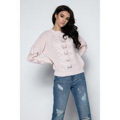 Pulover roz pudrat cu decupaje Ruffle Blouse, Sweaters, Women, Fashion, Chic, Tricot, Moda, Fashion Styles, Sweater
