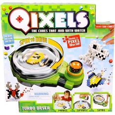 From the makers of Beados comes this new range of Qixels craftstruction kits for kids. Qixels are pixel bricks that fuse with a blast of water to create Qixel characters, Qixel monsters, Qixel animals. Use your imagination and create a Qixel world. Craft Kits For Kids, Crafts For Kids, Cube World, Moose Toys, Toys R Us Canada, All Toys, Christmas Toys, Christmas 2015, Kids Store