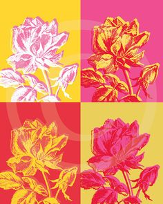 Mod Pink and Yellow Roses Artwork  DIY Art PRINT by CraftyGraphicsScraps - Inspired by Andy Warhol
