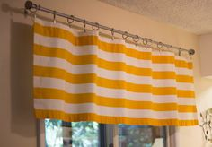 Yellow and White stripe valence curtain 80 by NewYorkCityInspired