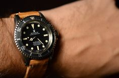 hodinkee:  Rolex Submariner Reference 5512 on Aged Tan Leather Strap on Flickr.What else can i say?