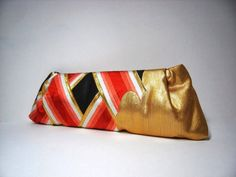 Japanese kimono and obi clutch bag in black, red, white and gold