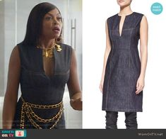 Cookie's denim split-neck dress and gold Chanel jewelry on Empire Cookie Lyon, Work Fashion, Fashion Outfits, Tv Show Outfits, Queen Fashion, Chanel Jewelry, Empire Style, Black Queen, Barbie Doll