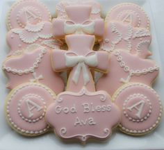 Pink and white Baptismal Cookies - Crosses with Bows - One Dozen Decorated Sugar Cookies - Perfect for First Communions and Confirmations