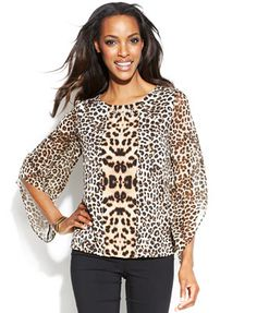 Alfani Angel-Sleeve Leopard-Print Blouse