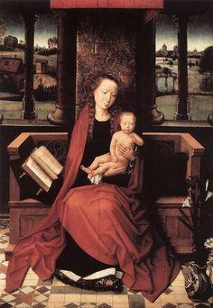 Hans Memling (German-born Flemish painter, 1435-1494) Virgin and Child Enthroned c 1480s