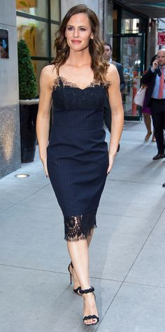 Jennifer Garner's Best Street Style Looks - May 18, 2017: Garner stepped out in New York City on Thursday looking polished as can be in a navy pinstriped Victoria Beckham dress with tasteful lace trim and studded Alaïa sandals.