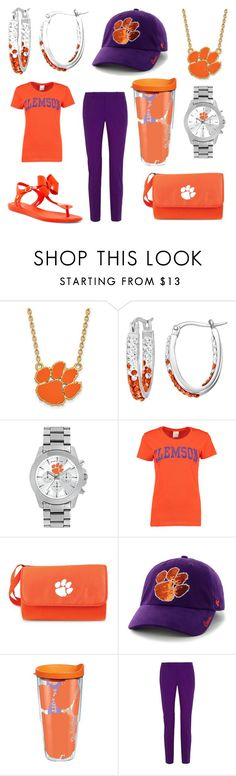 """""""Clemson Tigers🏈🔥"""" by princessmya1360 ❤ liked on Polyvore featuring LogoArt, Game Time, Picnic Time, '47 Brand, Gucci and Melissa"""