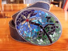 Floral XLarge Mosaic belt buckle by Studio11Online on Etsy