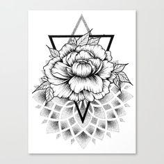 Dotwork mandala and flower Canvas Print by Ave Stiaz - MEDIUM Simple Mandala Tattoo, Dotwork Tattoo Mandala, Geometric Mandala Tattoo, Mandala Flower Tattoos, Geometric Flower, Mandala Tattoo Design, Geometric Tattoo Pattern, Dot Tattoos, Cover Up Tattoos