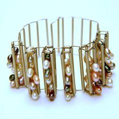 New Pearl, Multi Pearl Bracelet: ANGELA FUNG JEWELLERY - CONTEMPORARY BRITISH DESIGNER JEWELLERY Titanium jewellery, Stainless Steel Jewellery, Mens Jewellery, Cufflinks, Rings, Bracelets, Pendant