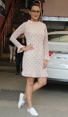 Sonakshi Sinha in a Kaprapan dress & Nike shoes