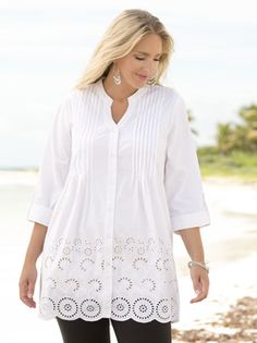 Plus Size Womens Clothing - Jennifer Pintucked Cutwork Tunic
