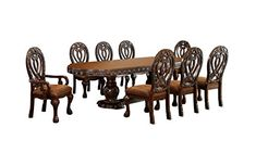 HOMES: Inside + Out IDF-3186CH-T-9PC Aragon 9 Piece Formal Dining Table Set, Cherry