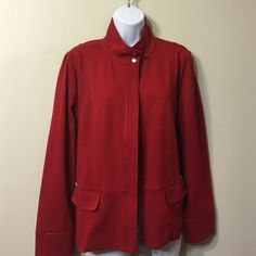 CHICO'S Deep red Size 1 NWOT zipper closing jacket New no tags ,zippered chic and sleek jacket Chico's Jackets & Coats
