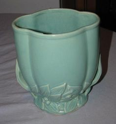 "Vintage McCoy Pottery Green Leaves Vase 7 1/4"" Tall - Used 