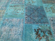 Any Custom order  120x96 inches  large  Turkish Vintage BLUE Turquoise  Overdyed PATCHWORK handmade Carpet rug. $735 retail.