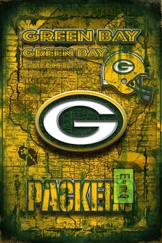 Green Bay Packers Football Poster, Green Bay Packers Man Cave Gift, Pa – McQDesign