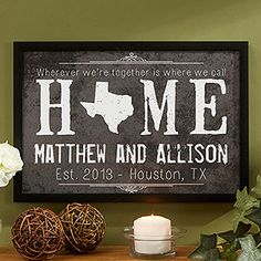 """OMG! I LOVE LOVE LOVE this!!! You can personalize it with any state shape as the """"o"""" in Home and it comes in 4 different colors and 3 different sizes! You can add any names to it and any message ... this is so cool!!!! Great Wedding gift idea or Valentine's Day gift idea - especially if you're in a long distance relationship!"""