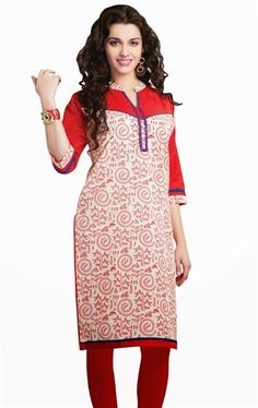 Wonderful White and Red Color Resham Embroidered Kurti