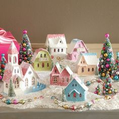 Wee little shabby Christmas village Miniature Christmas, Noel Christmas, Pink Christmas, Vintage Christmas, Christmas Ornaments, Christmas Things, Victorian Christmas, Christmas Village Display, Christmas Decoration Crafts