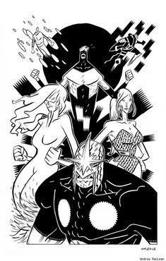 "andrewmaclean: "" New Warriors by Andrew MacLean "" Comic Books Art, Comic Art, New Warriors, Pop Culture Art, Red Art, Artist Gallery, Comic Covers, Cartoon Art, Concept Art"