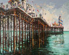 'License to Thrill, Brighton Pier, UK, oil on canvas, Gerard Byrne, 55x64cm www.gerardbyrneartist.com