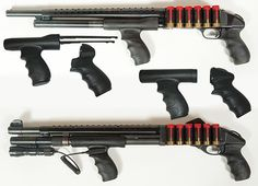 Pistol Grips There are tones of companies out there that make aftermarket parts for your everyday Remington 870 and Mossberg two of the most popular home defense shotguns on the market. The ones in the photo are from TacStar. Are they practical? Remington 870 Tactical, Tactical Shotgun, Tactical Gear, Weapons Guns, Guns And Ammo, Revolver, Mossberg Shockwave, Home Defense Shotgun, Mossberg 500