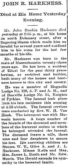 John Rankin Harkness Death Notice 12 Jun 1903 Biloxi, Harrison, Mississippi, USA Newspaper Notice from the Daily Herald