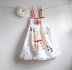 Shabby Chic Girl's White Dress 6 7 Red Gingham Summer Sundress Vintage Lace Strawberries Upcycled Clothes Children's Clothing 'CHLOE'. $49.00, via Etsy.