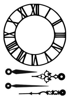 a look at shapes for clock parts Clock Face Printable, Stylo 3d, Stencils, Clock Tattoo Design, Fabric Stamping, Alice In Wonderland Tea Party, Ideias Diy, Diy Clock, Cameo