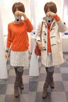 空気が冬だ!! 朝、冬コートを引っ張り出して出勤。  Coat/Gloverall Knit/GAP Bottoms/JOURNAL STANDARD Bag/Hashibami Shoes/UR  I wore a white duffel coat became so cold suddenly.
