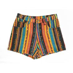 90s Stone Gear Southwestern Print High-Waisted Super Short Shorts... (55 PLN) ❤ liked on Polyvore featuring shorts, bottoms, grey, women's clothing, high-waisted shorts, high waisted hot shorts, high-rise shorts, grey shorts and hot short shorts