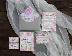 """Купить Приглашение на свадьбу """"Пионы"""" - розовый, приглашение, приглашение на свадьбу, свадебная полиграфия, пригласительное"""