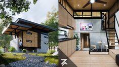 Modern Tropical House, Tropical House Design, Modern Small House Design, Minimalist House Design, Modern House Plans, Tiny House Design, Tiny Beach House, Tiny House Cabin, Wood House Design